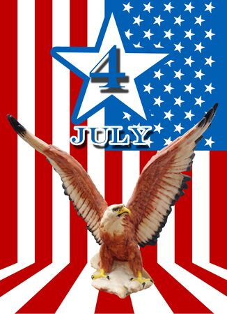 July 4 and eagle statue with American flag background  photo