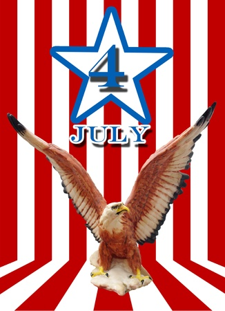 Independence day concept, USA flag with eagle photo