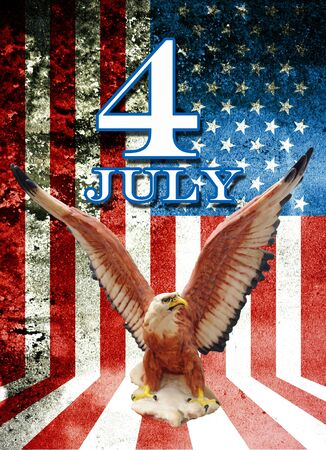 July 4 and eagle statue with American flag background in Grunge style