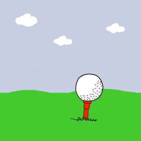 Golf ball in grass field, Golf illustrations illustration