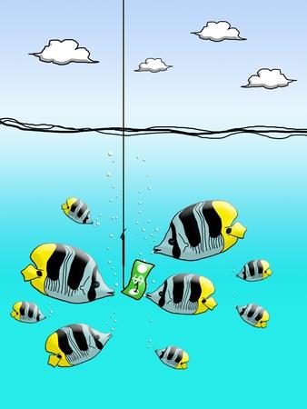 Dollar cash on fishing hook with fish enclose Stock Photo - 12934505