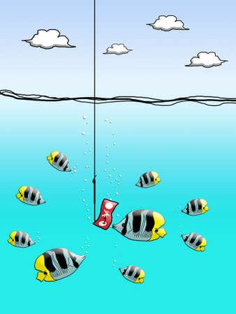 Yen cash on fishing hook with fish enclose Stock Photo - 12934497