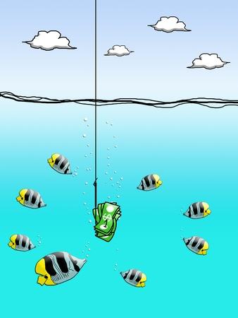 Dollar cash on fishing hook with fish enclose Stock Photo - 12934496