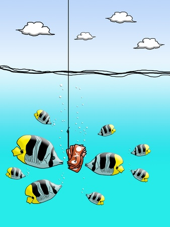 enclose: Yen cash on fishing hook with fish enclose