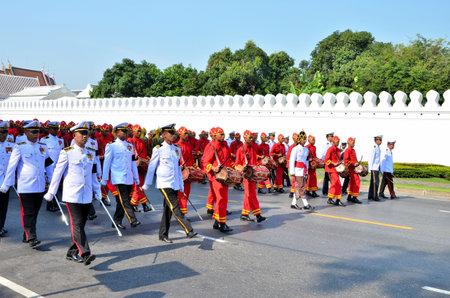 Bangkok, Thailand - April 9 : Soldiers marching on April 9, 2012, in The Royal Funeral of HRH Princess Bejaratana Rajasuda of Thailand