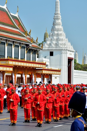 Bangkok, Thailand - April 9 : Soldiers in Thai traditional vintage stand in line up on April 9, 2012, in The Royal Funeral of HRH Princess Bejaratana Rajasuda of Thailand