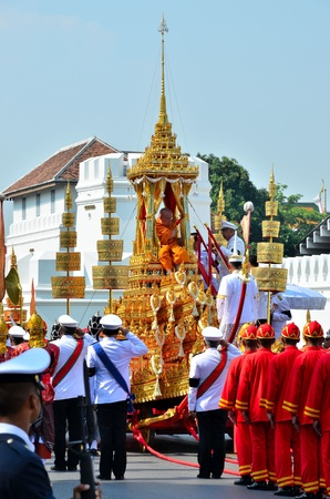 Bangkok, Thailand - April 9 : The royal Patriarch go up to Racharot Noi on April 9, 2012  in The Royal Funeral of HRH Princess Bejaratana Rajasuda of Thailand
