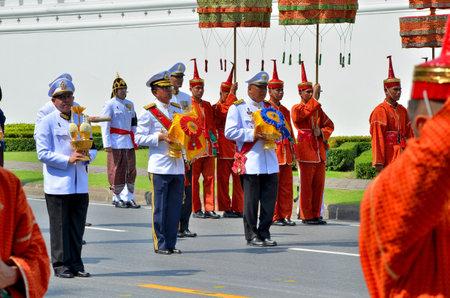 BANGKOK, THAILAND - APRIL 9 : The royal governor carry the royal insignia of rank on April 9, 2012  in The Royal Funeral of HRH Princess Bejaratana Rajasuda of Thailand