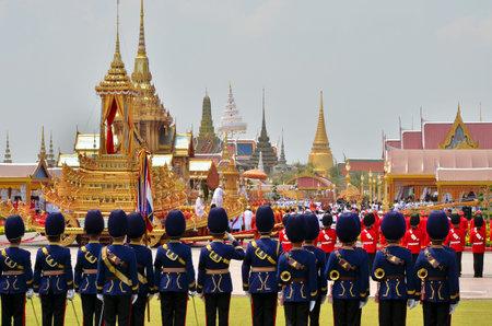 BANGKOK THAILAND - APRIL 9 : Soldier respect the royal urn moving on April 9, 2012  in The Royal Funeral of HRH Princess Bejaratana Rajasuda of Thailand