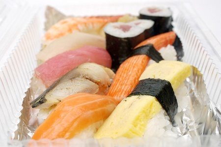Sushi in plastic box , Food for take home Stock Photo - 13272845