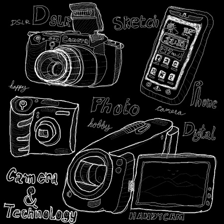 Camera and technology sketch drawing