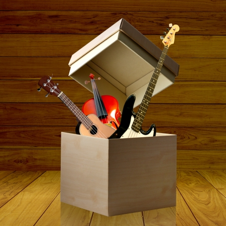 sound box: Instrument box, Gift box concept Stock Photo
