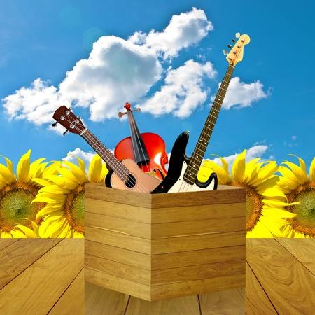 Boldog hangszer, Boldog zenei koncepciója Stock fotó