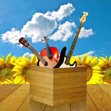 Happy with music instrument, Happy music concept