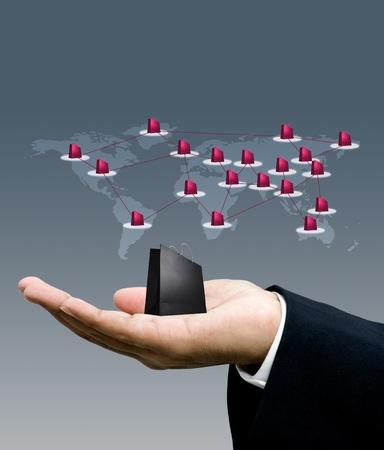 Winkelen bedrijfsleven over de hele wereld, netwerk marketing concept