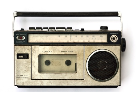 vintage radio: Retro radio and tape player on white background, Cassette player  Stock Photo