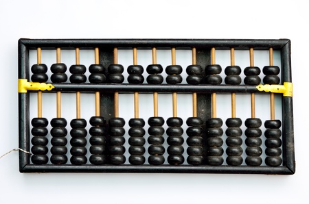 Retro abacus isolated on white background photo