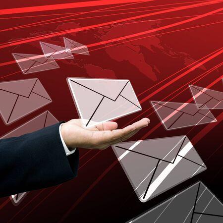 tele communication: Businessman send the reciepts Stock Photo