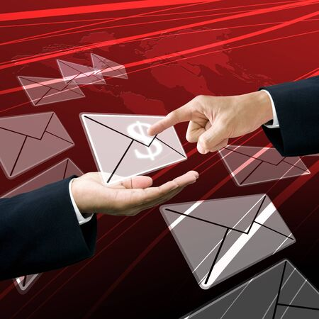 tele communication: Businessman get the earning mail