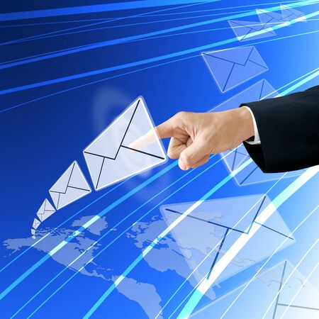 tele communication: Businessman choose email from America map