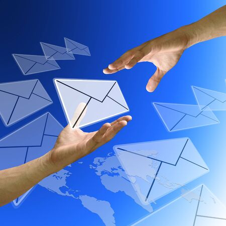 tele communication: Friend send email from other country Stock Photo