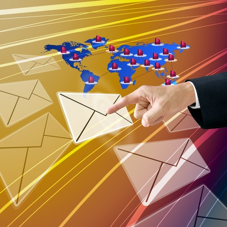 tele communication: Customer send demand by email Stock Photo