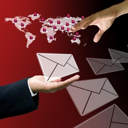 tele communication: Businessman send mail to customer, Customer service concept