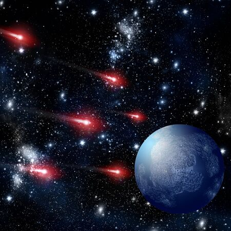 Comet flying in the deep space with blue planet background photo