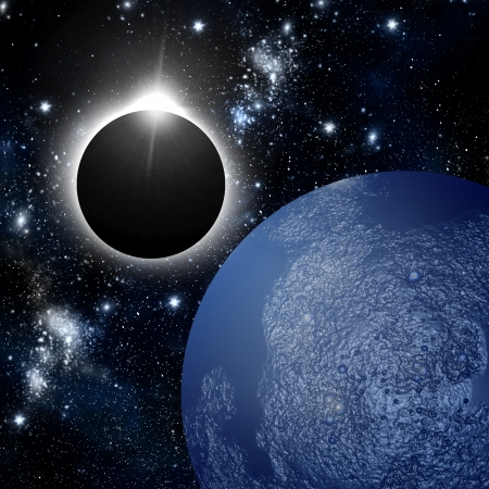 Eclipse and planet in deep space photo