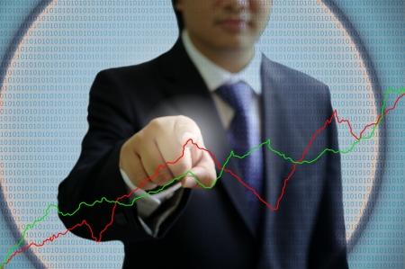 digi: Businessman point the virtual graph, Digital technology concept