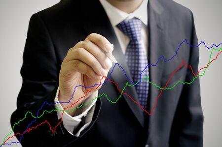 digi: Businessman write on virtual board