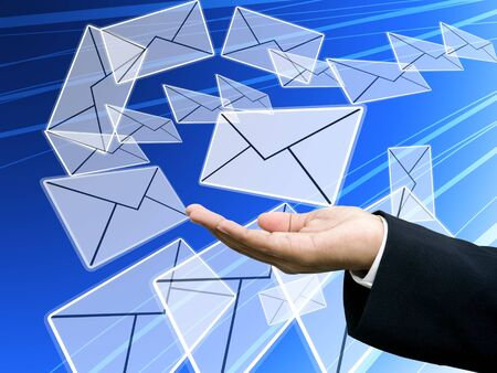 Send email, Internet technology concept photo