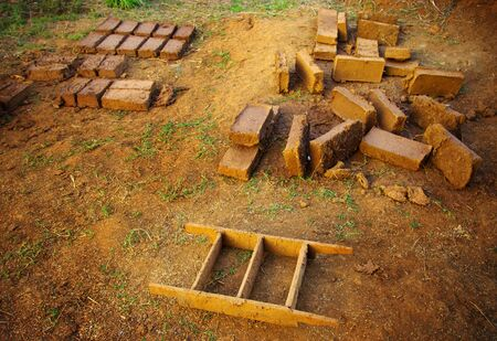 folkways: Clay brick for build the house in countryside of Thailand, Folk wisdom concept Stock Photo