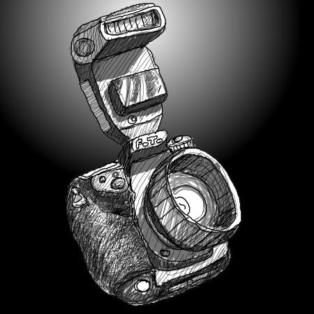 Digital SLR camera sketchs on black background Stock Photo