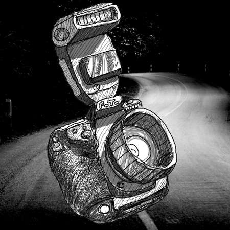 Digital SLR camera sketchs with road background Stock Photo
