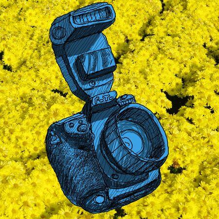 Digital SLR camera sketchs with nice flower pattern background