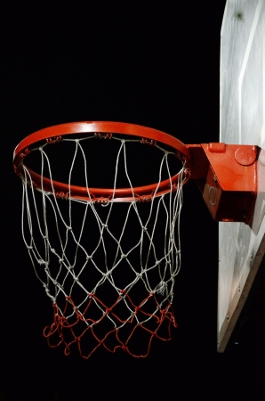 Basketball hoop with night sky background photo