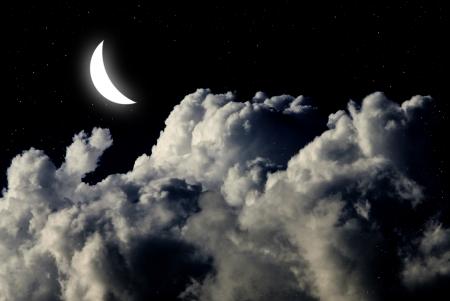 Maan in de nachtelijke hemel met ster achtergrond Stockfoto