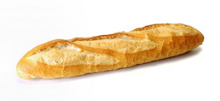 cuisine fran�aise: long pain isol� sur fond blanc