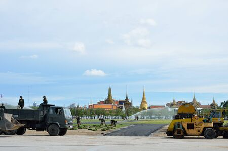 BANGKOK, THAILAND - AUGUST 25 : Military renovate The royal field (Sanam Luang) on 25 August 2012 at Bangkok, Thailand