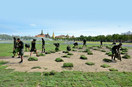 BANGKOK, THAILAND - AUGUST 25 : Military renovate The royal field (Sanam Luang) on 25 August 2012 at Bangkok, Thailand Stock Photo - 14962488