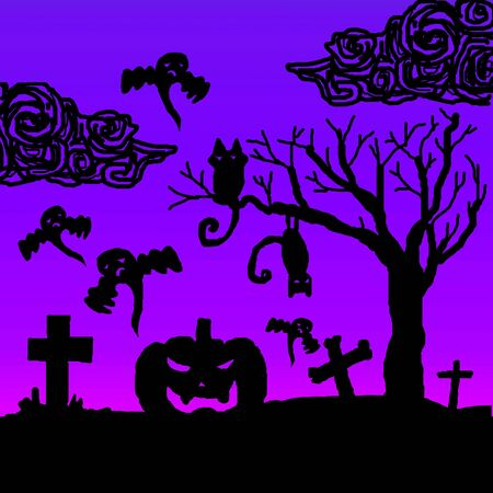 Scary Halloween night illustration Stock Illustration - 15504716