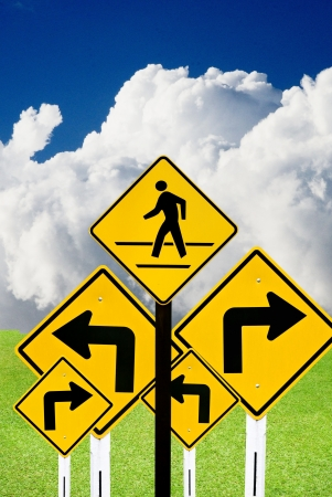 Confused road sign with outdoor background photo