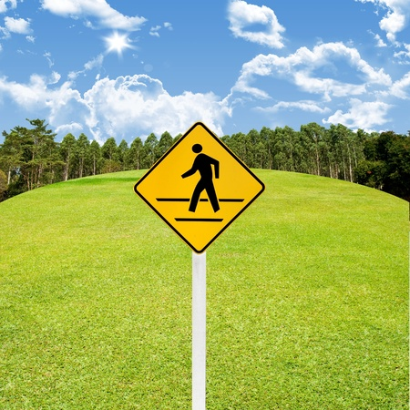 Crossroad sign with green golf course background Stock Photo - 15407618