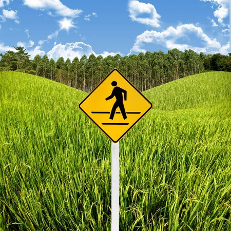 Crossroad sign with landscape background, Travel in countryside concept Stock Photo - 15407837