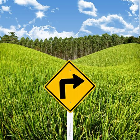 Travel in countryside concept, Turn right sign with rice field Stock Photo - 15407834