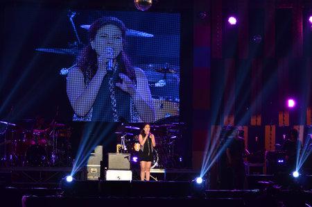 NONTABURI, THAILAND  - OCTOBER 4   Wiyada Komalakul singer singing in Grammy Wonderland concert on 4 October 2012 at IMPACT Challenger, Nontaburi, Thailand Stock Photo - 15625660