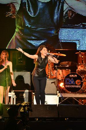 NONTABURI, THAILAND  - OCTOBER 4 : Nantida Kaewbuasai singer singing in Grammy Wonderland concert on 4 October 2012 at IMPACT Challenger, Nontaburi, Thailand Stock Photo - 15619759