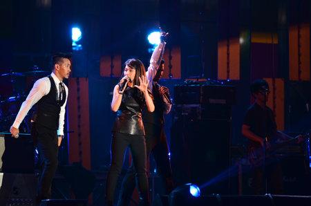 NONTABURI, THAILAND  - OCTOBER 4 : Nantida Kaewbuasai singer singing in Grammy Wonderland concert on 4 October 2012 at IMPACT Challenger, Nontaburi, Thailand Stock Photo - 15619704