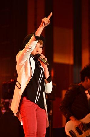 NONTABURI, THAILAND  - OCTOBER 4 : Da Endorphine singer singing in Grammy Wonderland concert on 4 October 2012 at IMPACT Challenger, Nontaburi, Thailand Stock Photo - 15669557